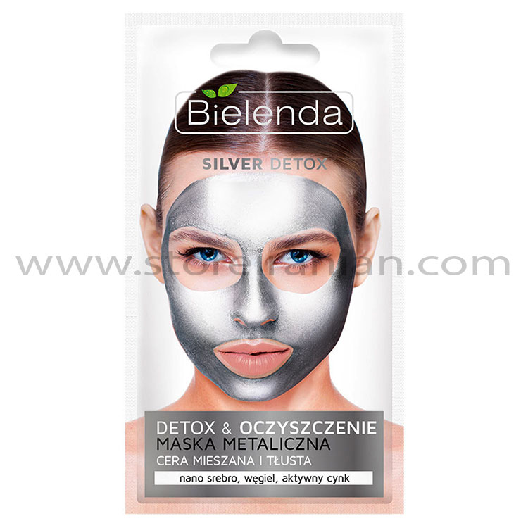 ماسک صورت نقره ای پوست چرب و مختلط بی یلندا | Bielenda Silver Detox & Cleansing Metallic Face Mask for Combination and Oily Skin